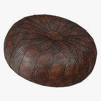Moroccan Leather Poufs Ottoman