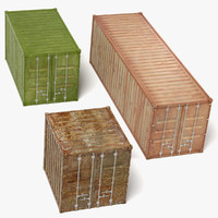 3d model rusty containers