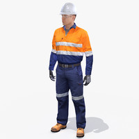 vr safety workman worker 3d model