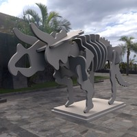 3d modern art triceratops skeleton model
