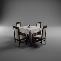 classic table chairs 3d model