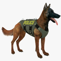 belgian shepherd dog police 3d model