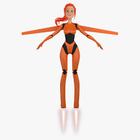 3ds max cartoon robot girl 5