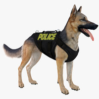 3d model belgian shepherd dog police