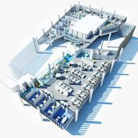3d office plan