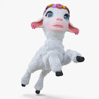 3d cartoon girl lamb rigged