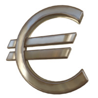 3d model of euro currency sign