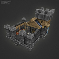 3d model hand painted human barracks