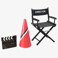 3d director chair accessories 2 model
