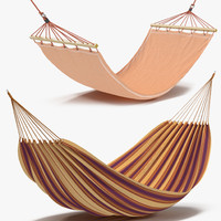 hammocks set realistic 3d model