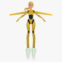 3ds max cartoon robot girl