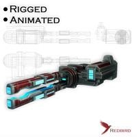 3d model sci-fi rail gun