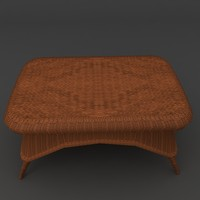 wicker coffee wide table 3d obj