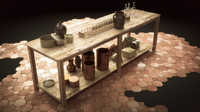 3d rustic kitchen table