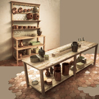 3d model rustic kitchen table