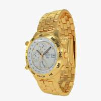 orient gold watch chronograph 3d model