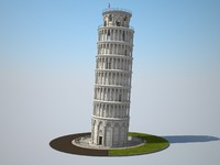 3d model tower leaning pisa