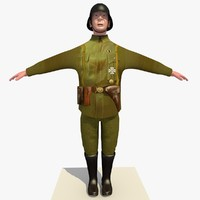 Low Poly WW1 German Lieutenant Soldier
