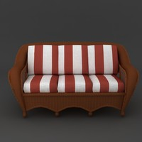 wicker sofa cushions 3d model