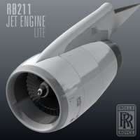 3d rb211 jet engine lite model