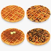 realistic waffle set 3d model