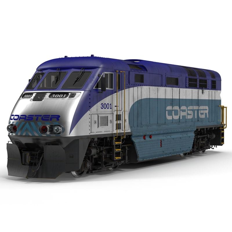 Diesel Electric Locomotive F59 PHI Coaster 3d model 01.jpg