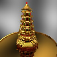 chinese tower building 3d max