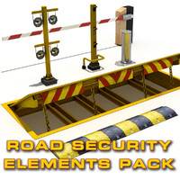 3d model road security elements pack