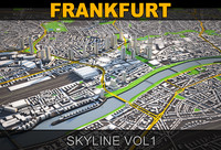 frankfurt skyline vol1 3d model