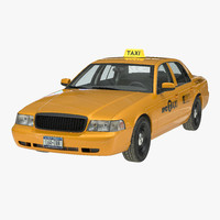 3d model of generic yellow taxi simple