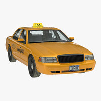 3d crown victoria yellow taxi