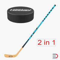 3d model of hockey stick puck
