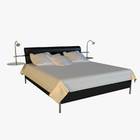 3ds max bed black leather