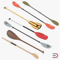 3d model paddles set wooden