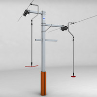 3d 3ds ski lift pole rod