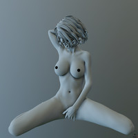 posed female character 3d model