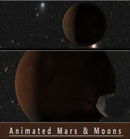 moons animation mars planet 3d model