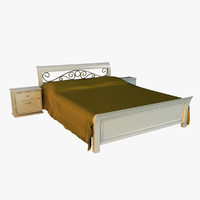 Bed wood classic gold