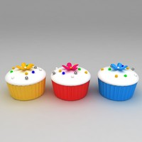 3d cupcakes white cream flower