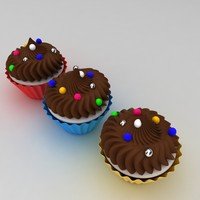 cupcake colored small chocolate 3d model