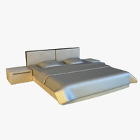 white bed leather 3d 3ds