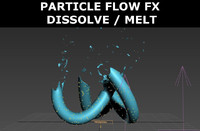 particle flow dissolve melt 3d max