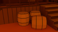 Low Poly Style - Wooden Barrel