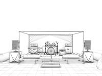 music scene 3d c4d