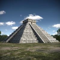 3d chichen itza pyramid model