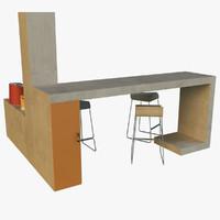 3d model bar art nouveau style