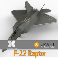 pre-rigged f-22 raptor craft 3d model