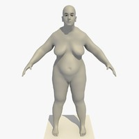 3d realistic base mesh obese model
