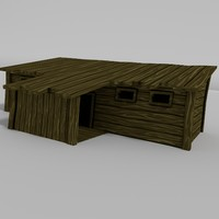 wooden cabin 3d 3ds