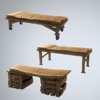 3d obj stylized table wood